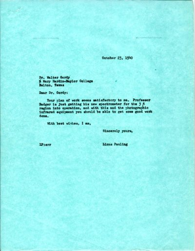 Letter from Linus Pauling to Walter Gordy. Page 1. October 23, 1940