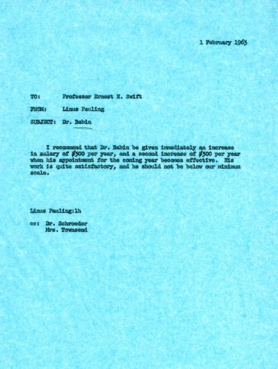 Letter from Linus Pauling to Ernest Swift. Page 1. February 1, 1963