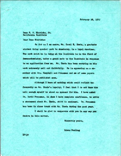 Letter from Linus Pauling to F.W. Hinrichs, Jr. Page 1. February 28, 1942