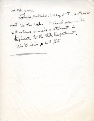 Note to Self by Linus Pauling.Page 1. February 18, 1942