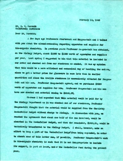 Letter from Linus Pauling to E.C. Barrett. Page 1. February 14, 1940