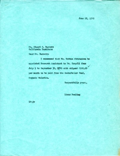 Letter from Linus Pauling to E.C. Barrett.Page 1. June 28, 1940