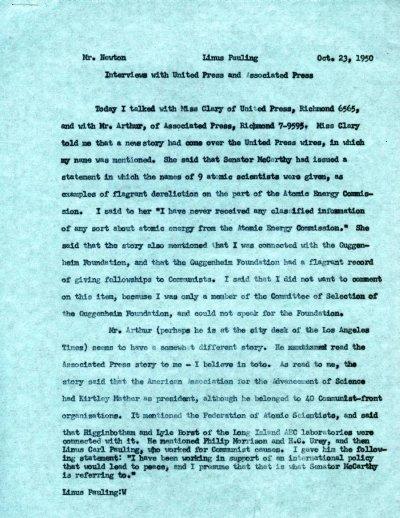 Memorandum from Linus Pauling to Charles Newton.Page 1. October 23, 1950