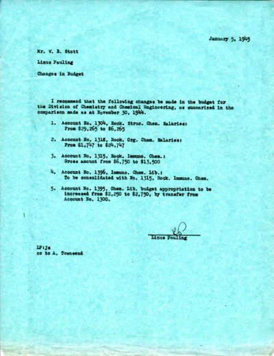 Letter from Linus Pauling to W.R. Stott.Page 1. January 5, 1945