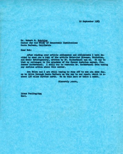 Letter from Linus Pauling to Robert M. Hutchins. Page 1. September 10, 1963
