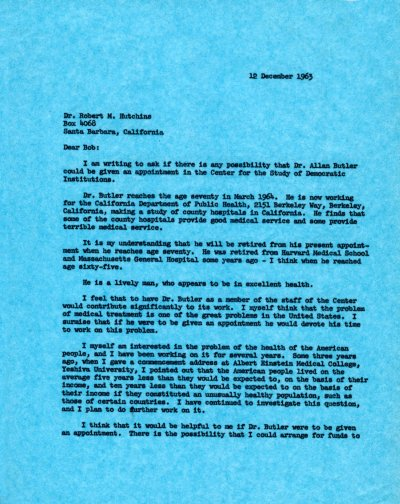 Letter from Linus Pauling to Robert M. Hutchins. Page 1. December 12, 1963