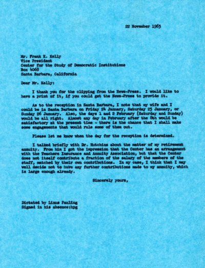 Letter from Linus Pauling to Frank K. Kelly.Page 1. November 22, 1963
