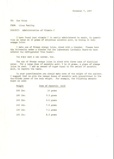 Memo from Linus Pauling to Sue Oxley.Page 1. November 7, 1967