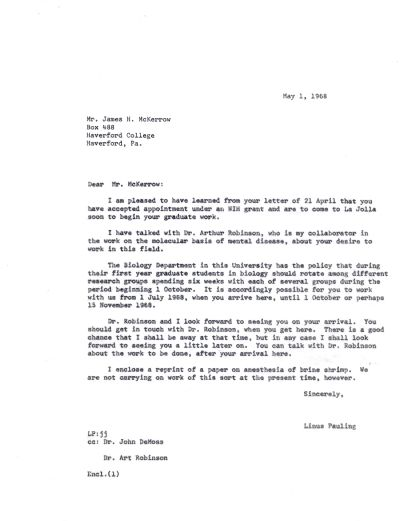 Letter from Linus Pauling to James H. McKerrow.Page 1. May 1, 1968