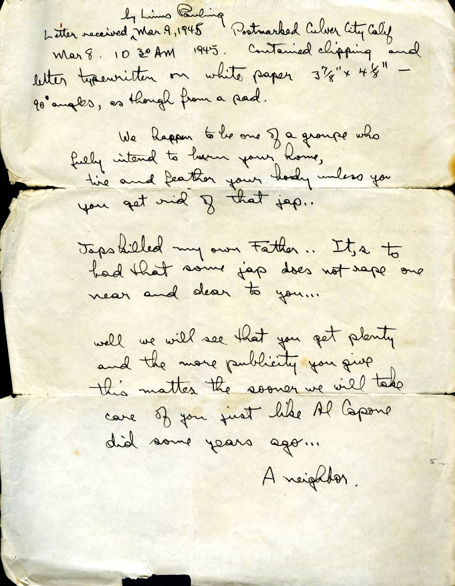 Transcript of an anonymous letter sent to Linus Pauling