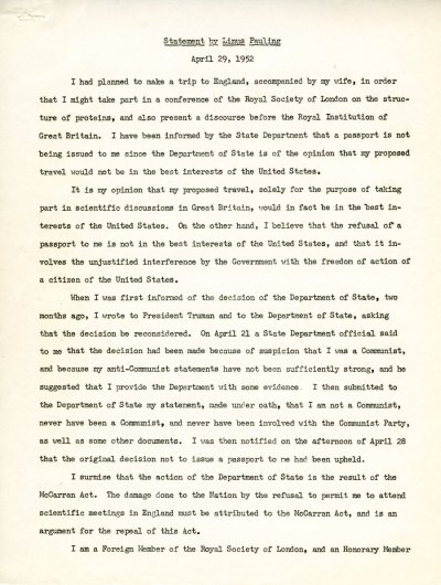 Statement by Linus Pauling. Page 1. April 29, 1952