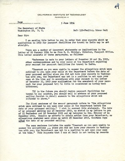 Letter from Linus Pauling to John Foster Dulles.Page 1. June 5, 1954