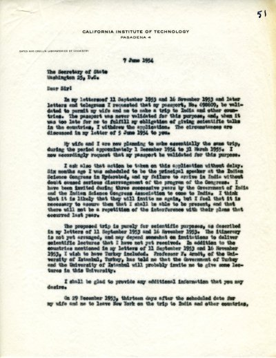 Letter from Linus Pauling to John Foster Dulles.Page 1. June 7, 1954