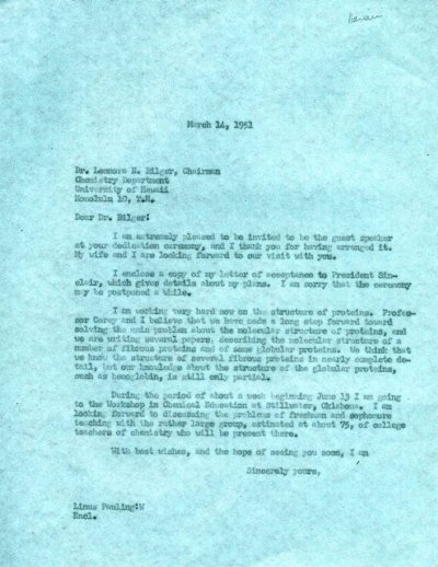 Letter from Linus Pauling to Leonora Bilger.Page 1. March 14, 1951