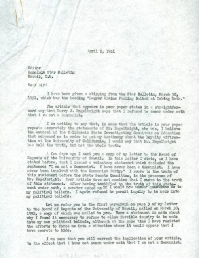 Letter from Linus Pauling to the Editor of the Honolulu Star-Bulletin.Page 1. April 2, 1951