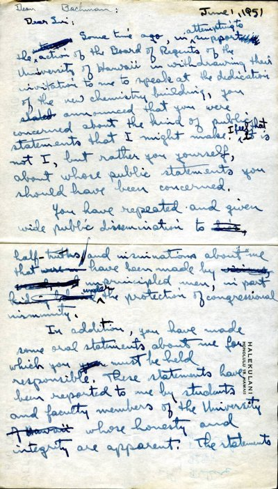 Letter from Linus Pauling to Paul Bachman.Page 1. June 1, 1951