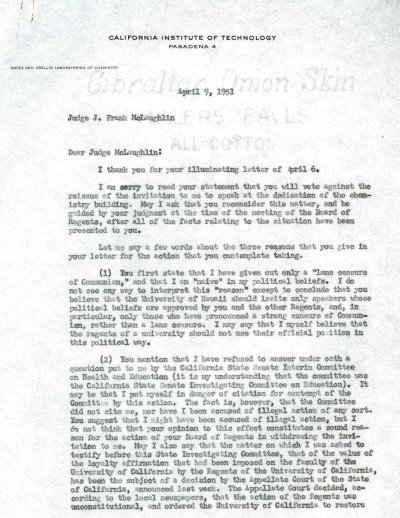 Letter from Linus Pauling to J. Frank McLaughlin. Page 1. April 9, 1951