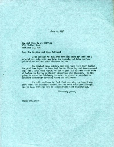 Letter from Linus Pauling to Dr. and Mrs. E.J. Britten.Page 1. June 9, 1951