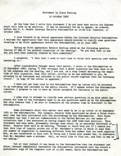 """Statement by Linus Pauling"" Page 1. October 10, 1960"