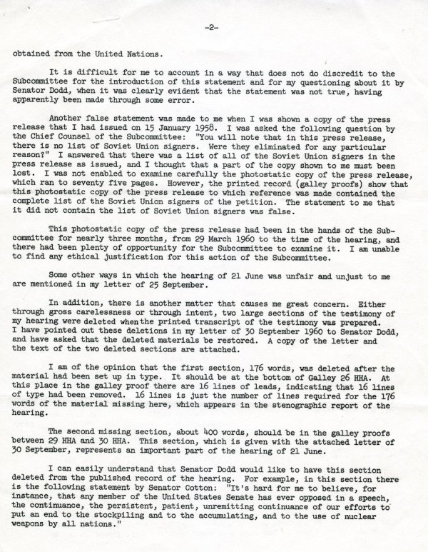 """Statement by Linus Pauling"" Page 2. October 10, 1960"