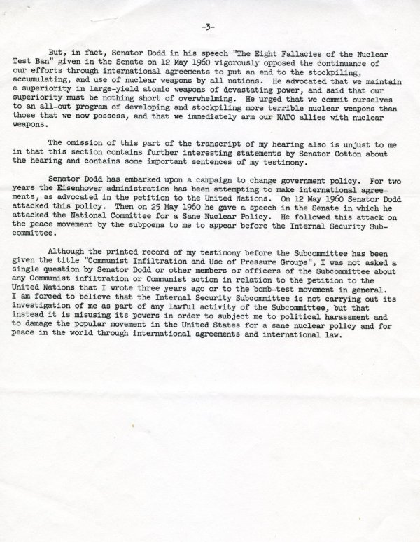 """Statement by Linus Pauling"" Page 3. October 10, 1960"