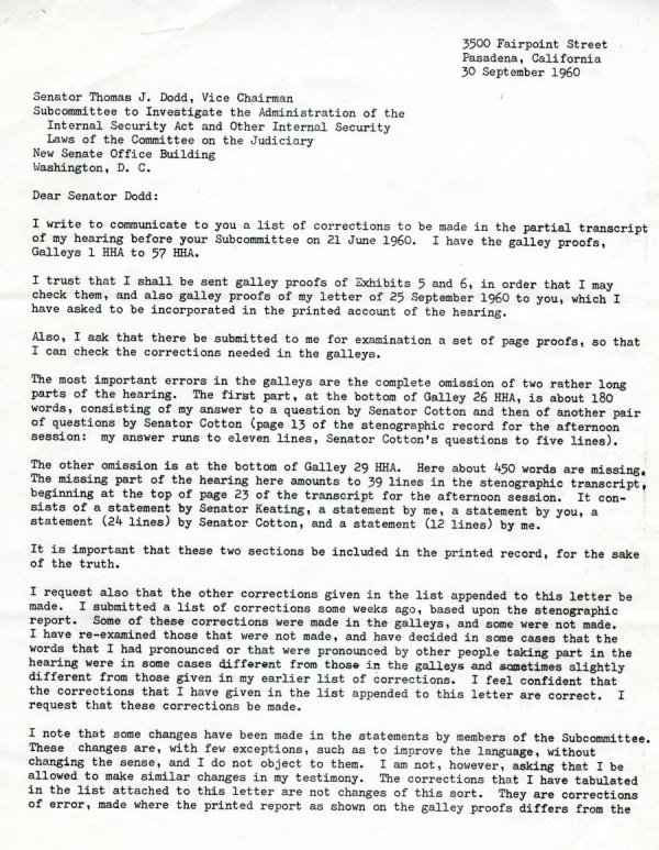 """Statement by Linus Pauling"" Page 4. October 10, 1960"