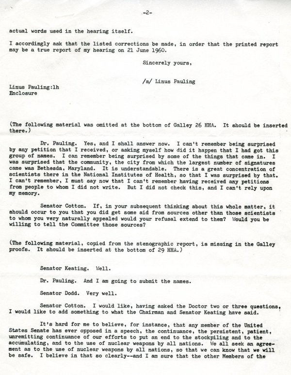 """Statement by Linus Pauling"" Page 5. October 10, 1960"