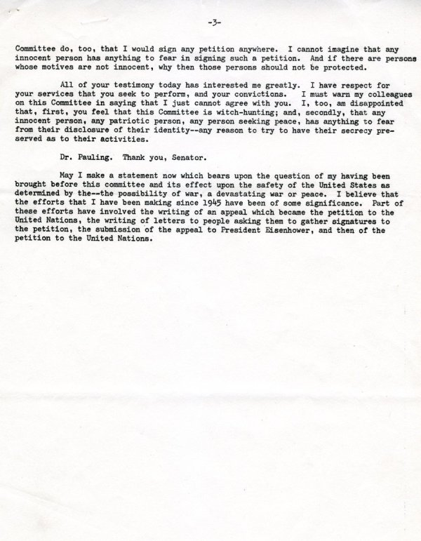 """Statement by Linus Pauling"" Page 6. October 10, 1960"