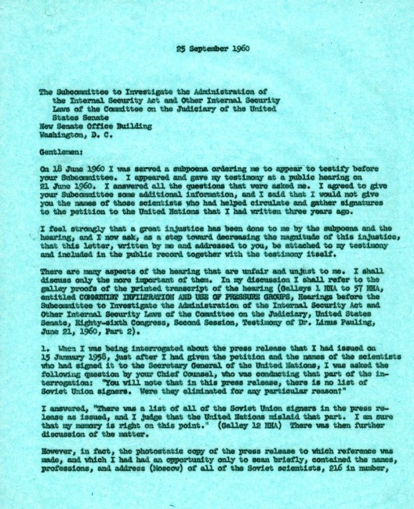 Letter from Linus Pauling to the Senate Internal Security Subcommittee. Page 1. September 25, 1960