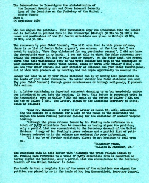 Letter from Linus Pauling to the Senate Internal Security Subcommittee. Page 2. September 25, 1960
