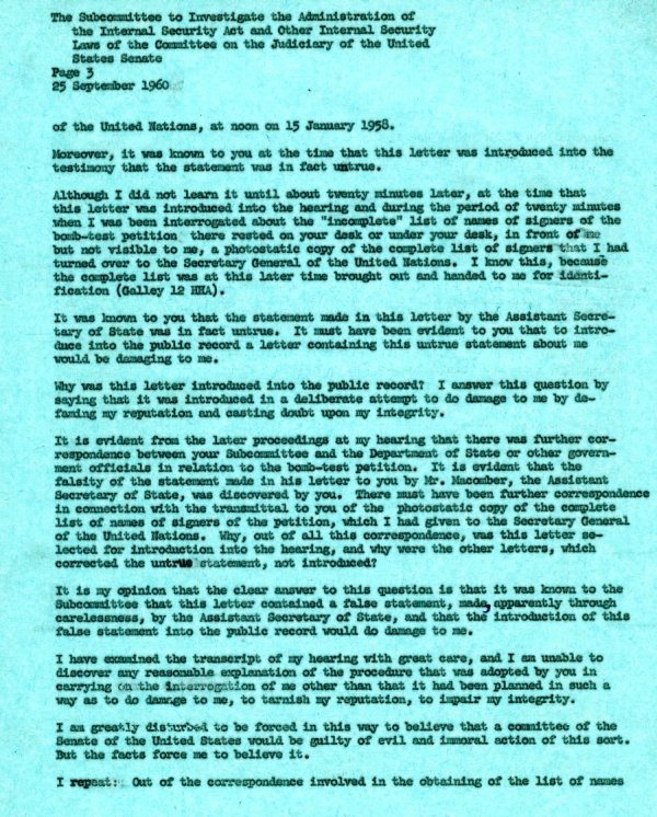 Letter from Linus Pauling to the Senate Internal Security Subcommittee. Page 3. September 25, 1960