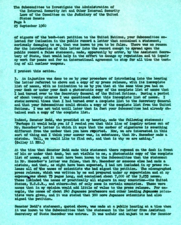 Letter from Linus Pauling to the Senate Internal Security Subcommittee. Page 4. September 25, 1960
