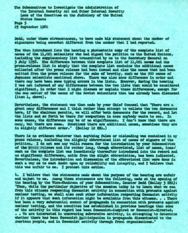 Letter from Linus Pauling to the Senate Internal Security Subcommittee. Page 5. September 25, 1960