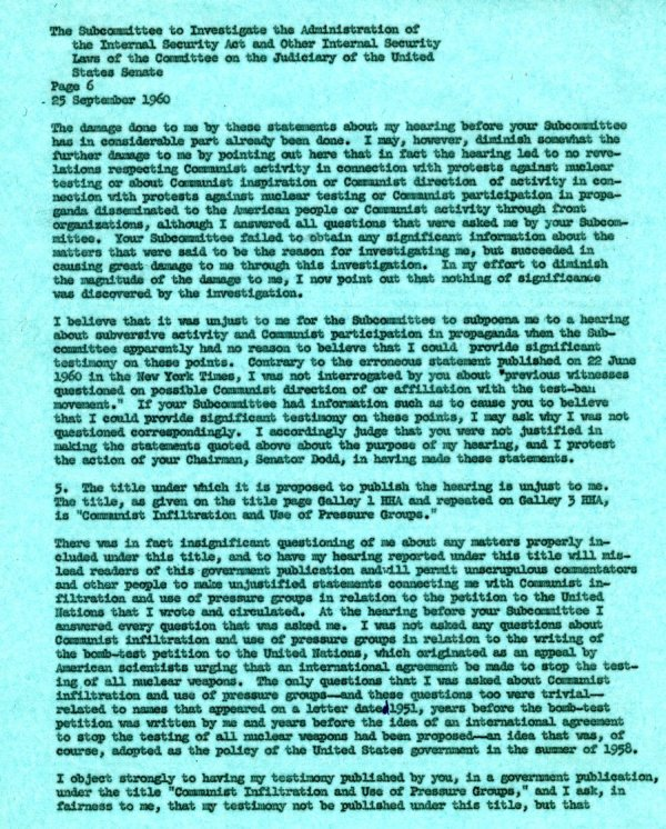 Letter from Linus Pauling to the Senate Internal Security Subcommittee. Page 6. September 25, 1960