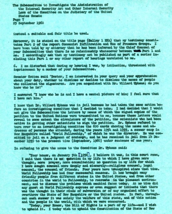 Letter from Linus Pauling to the Senate Internal Security Subcommittee. Page 7. September 25, 1960