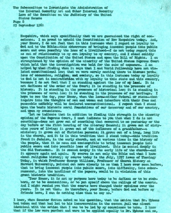 Letter from Linus Pauling to the Senate Internal Security Subcommittee. Page 8. September 25, 1960