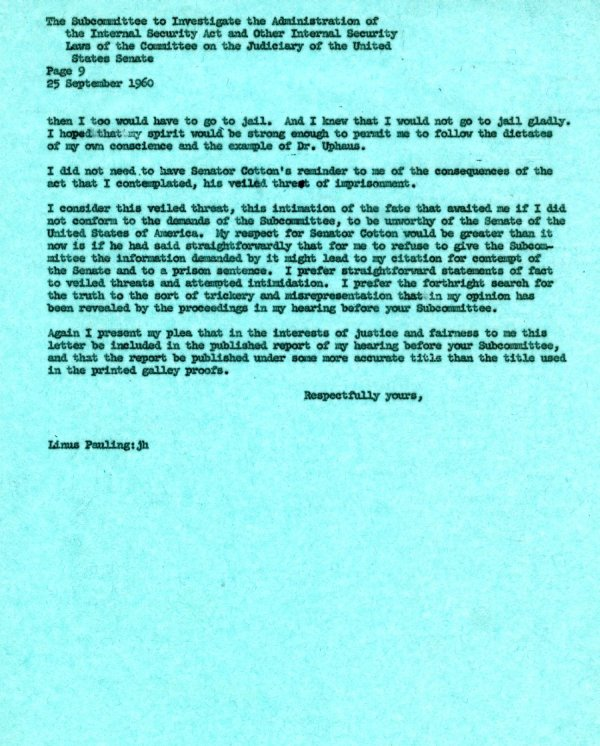 Letter from Linus Pauling to the Senate Internal Security Subcommittee. Page 9. September 25, 1960