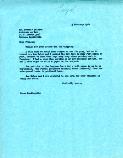 Letter from Linus Pauling to Francis Heisler. Page 1. February 13, 1964