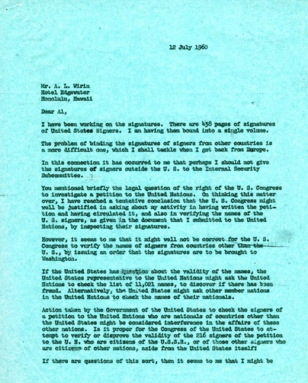 Letter from Linus Pauling to A.L. Wirin. Page 1. July 12, 1960