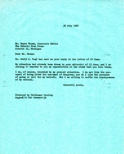 Letter from Linus Pauling to Royce Howes. Page 1. July 26, 1960