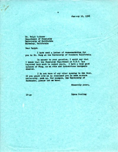 Letter from Linus Pauling to Ralph Spitzer. Page 1. January 10, 1946