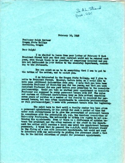 Letter from Linus Pauling to Ralph Spitzer. Page 1. February 16, 1949
