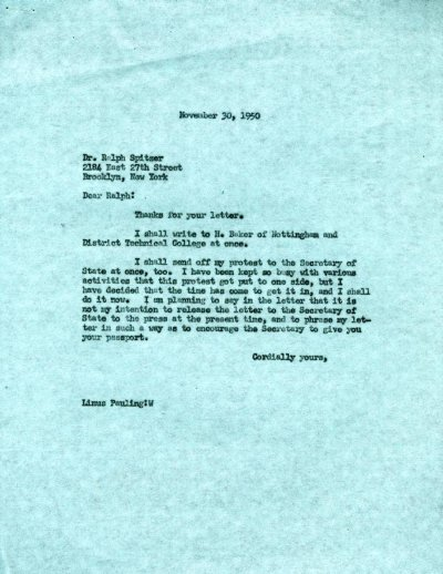 Letter from Linus Pauling to Ralph Spitzer.Page 1. November 30, 1950
