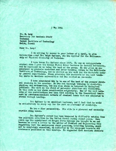 Letter from Linus Pauling to M. Levy.Page 1. May 3, 1954