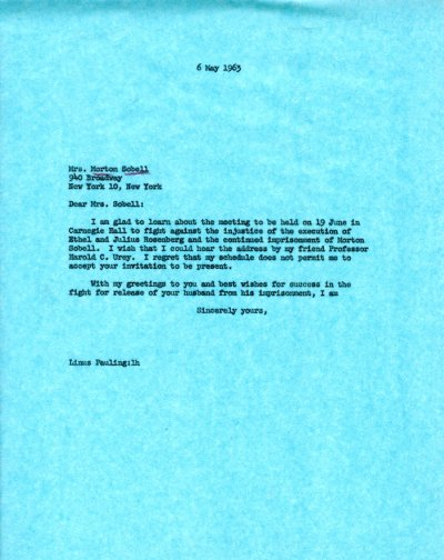 Letter from Linus Pauling to Mrs. Morton Sobell. Page 1. May 6, 1963