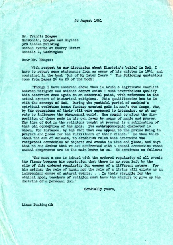 Letter from Linus Pauling to Francis Hoague. Page 1. August 28, 1961