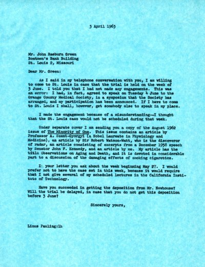 Letter from Linus Pauling to John Green. Page 1. April 3, 1963