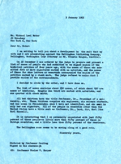 Letter from Linus Pauling to Michael Levi Matar. Page 1. January 5, 1962