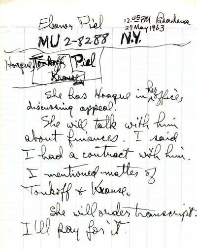 Notes re: Discussion with Eleanor J. Piel.Page 1. May 27, 1963