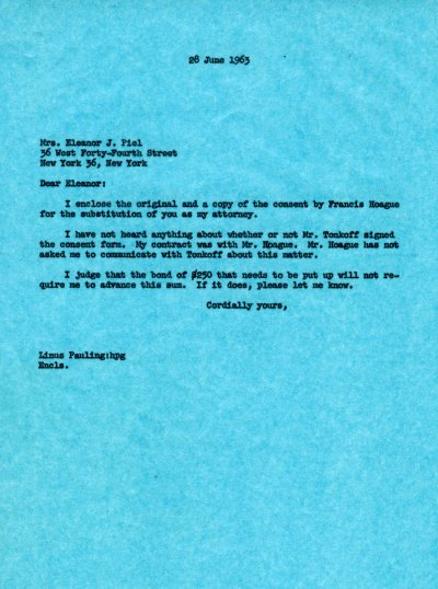 Letter from Linus Pauling to Eleanor J. Piel.Page 1. June 27, 1963